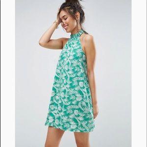 ASOS Halter Swing Sundress in Green Palm